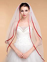Wedding Veils Women's Elegant Rhinestone Two-tier Tulle Ribbon Edge Veils