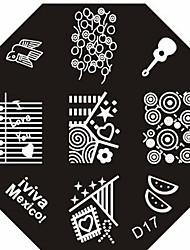 nail art estampage l'image timbre plaque modèle série d no.17