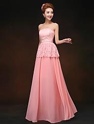 Floor-length Chiffon Bridesmaid Dress - Watermelon Sheath/Column Strapless