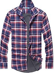 Men's Plaids Casual / Work / Sport Shirt,Cotton / Polyester Long Sleeve Multi-color