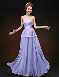 Floor-length Chiffon Bridesmaid Dress - Lavender Sheath/Column Strapless