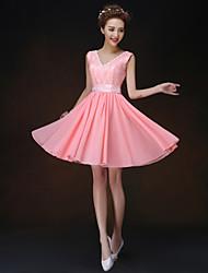 Corta / Mini Vestido de Dama de Honor - Corte en A / Princesa Tirantes con