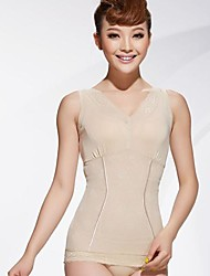Thin Strapless Shapewear Breathable Seamless Abdomen Drawing Slimming Vest Beige Color Size XL and XXL