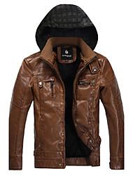 Moda masculina en Europa y la chaqueta de cuero del viento desmontable Cap
