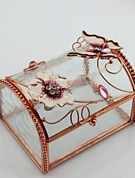 Wedding Gifts Flower Butterfly Glass Jewelry Box