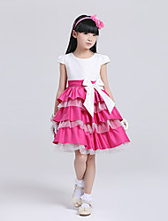 A-line Knee-length Flower Girl Dress - Lace/Satin/Tulle Short Sleeve