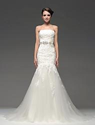 Fit & Flare Wedding Dress-Floor-length Strapless
