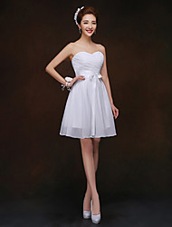 Short/Mini Bridesmaid Dress - White Sheath/Column Sweetheart