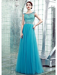 Formal Evening Dress Sheath / Column Bateau Floor-length Chiffon with Beading
