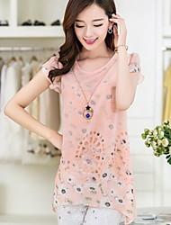 Women's Print Pink/Yellow/Purple Blouse , Round Neck Short Sleeve