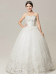 Ball Gown Wedding Dress - White Floor-length Sweetheart Lace/Organza