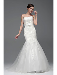 Fit & Flare Floor-length Wedding Dress -Bateau Satin