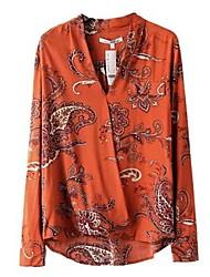 Women's Orange Blouse Long Sleeve