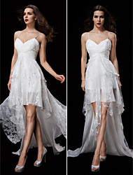 Lanting Bride® A-line Petite / Plus Sizes Wedding Dress Court Train Spaghetti Straps Chiffon / Lace with