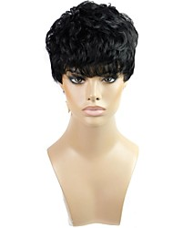 Capless Short Curly Heat Resistant Synthetic Black Wig