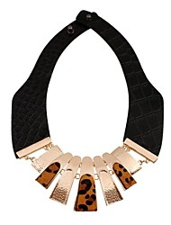 Women's Fashion Personality Leapard Sheet Metal Leather Necklace