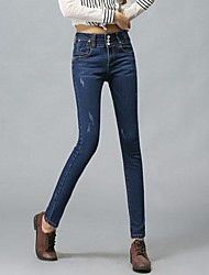 Women's Breasted Elastic Waist Jeans