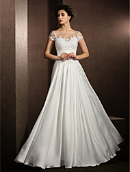 LAN TING BRIDE A-line Wedding Dress See-Through Floor-length Scoop Satin Chiffon with Appliques Beading
