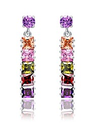Brass With Cubic Zirconia Drop Earrings (More Colors)