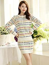 Women's Temperament Bodycon Color Stripe  Dress Suits(Blouse & Skirt)