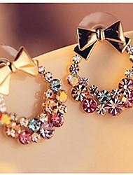 moda pieno di orecchini di bowknot del cristallo di colore (1 coppia)