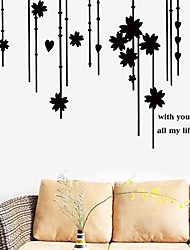 Wall Stickers Wall Decals, Vintage Bead Curtain Flowers PVC Wall Stickers