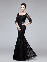 Trumpet/Mermaid Square Floor-length Lace Evening Dress