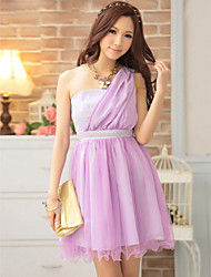 Ankle-length Chiffon Bridesmaid Dress - Blushing Pink / Lilac / Ivory / Black Ball Gown Sweetheart