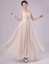 Floor-length Chiffon Bridesmaid Dress - Champagne Sheath/Column One Shoulder