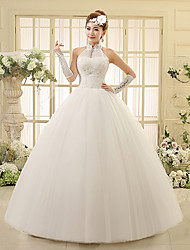 Ball Gown Wedding Dress Floor-length High Neck Lace / Tulle