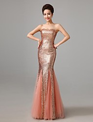 Formal Evening Dress Trumpet / Mermaid Strapless Floor-length Sequined with Sequins