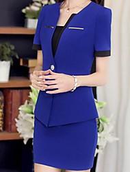 Women's Blue/Pink/Red/Black/Green Blazer , Casual Short Sleeve