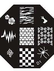 nail art estampage l'image timbre plaque modèle série n ° 1 d