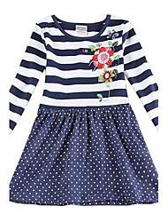 florales muchachas del vestido de la muchacha de mangas largas flores rayas visten falda de lunares vestidos de los niños (impresas al azar)