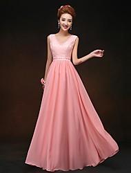 Floor-length Chiffon Bridesmaid Dress - Watermelon Sheath/Column V-neck