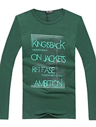 Informeel - Opdruk - Lange Mouw - MEN - Katoen - T-shirts - Zwart/Groen/Wit/Grijs