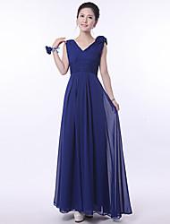 Floor-length Bridesmaid Dress - Royal Blue A-line Straps