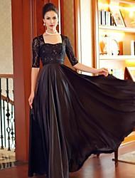 Formal Evening Dress - Black Plus Sizes Sheath/Column Square Floor-length / Court Train Satin