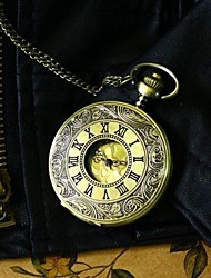 Men Steampunk Bronze Pocket Watch Vintage Big Roman Number Fashion Quartz Fob Watch Necklace Watch Cool Watch Unique Watch