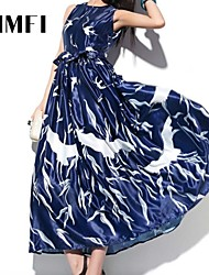 Women's Dress , Polyester Blue Party