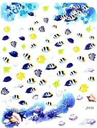 1PC 3D Trendy Nail Art Stickers Nail Wraps Nail Decals Ocean Blue Tropical Fish Nail Polish Decorations