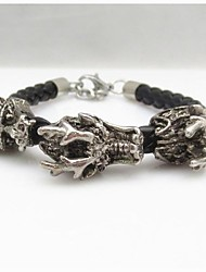 Fashion Punk Men's Alloy Leather China Dragon Bracelets