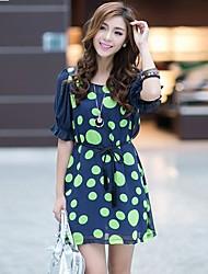 Women's Polka Dots Inelastic Short Sleeve Above Knee Dress (Chiffon)