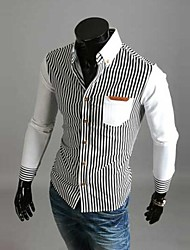 Men's Striped Casual Shirt,Cotton / Polyester Long Sleeve Blue / White