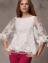 Women's Lace Valuable Gracegul Stitchwork Lotus Sleeve Loose Shirt