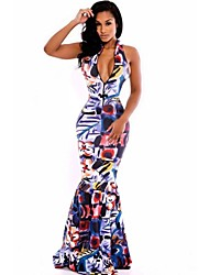 Women's Novelty Printed Mermaid Maxi Sexy Dress