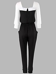 Women's Polyester Jumpsuits , Stretchy ¾ Sleeve Casual