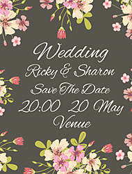 Personalized Wedding Invitations Flower Pattern Save The Date Paper Card 13.5cm x 13.5cm 50pcs/Set