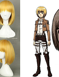 Angelaicos Unisex Attack On Titan Armin Arlart Lolita Short Golden Harajuku Halloween Costume Cosplay Party Bob Wigs