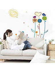 decalques de parede adesivos de parede, parede estilo de linha flor pvc adesivos